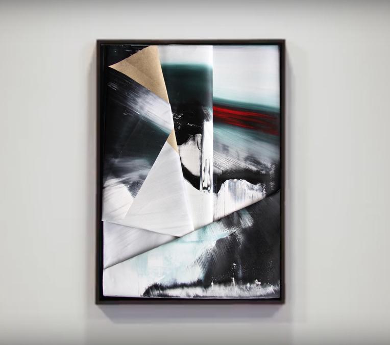 faltung-Faltung Nr. 9-Öl auf Leinwand - 80 x  60 cm - 2017