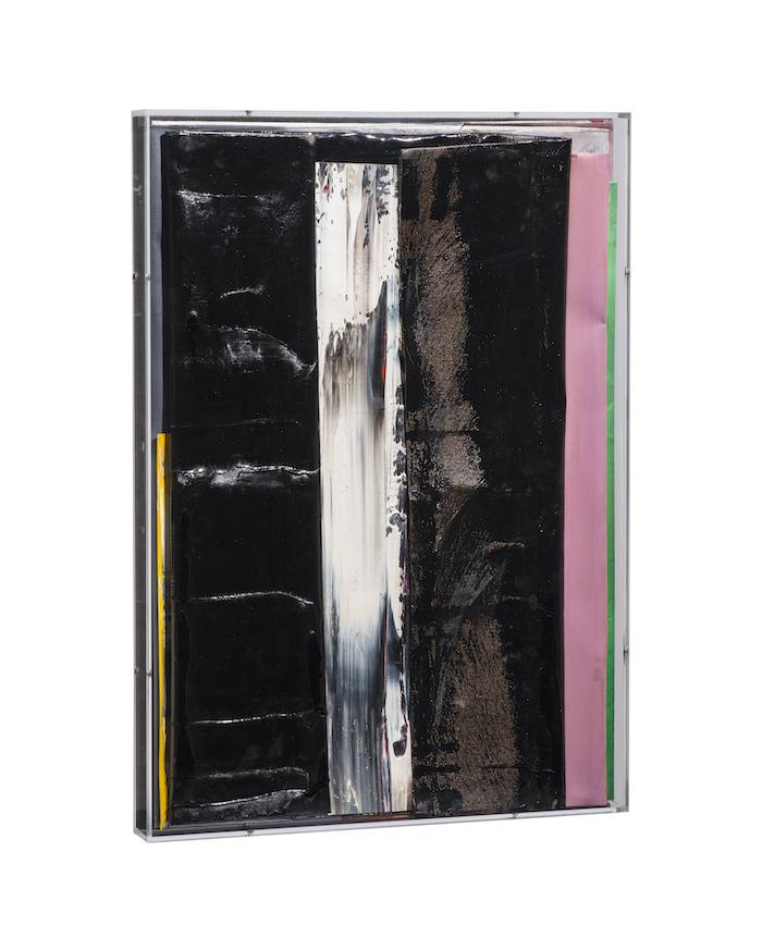 faltung_bitumen-Faltung_Bitumen Nr. 26-Öl auf Leinwand und Bitumen im Plexiglasbox - 66,2 x 47,2 x 5 cm - 2018
