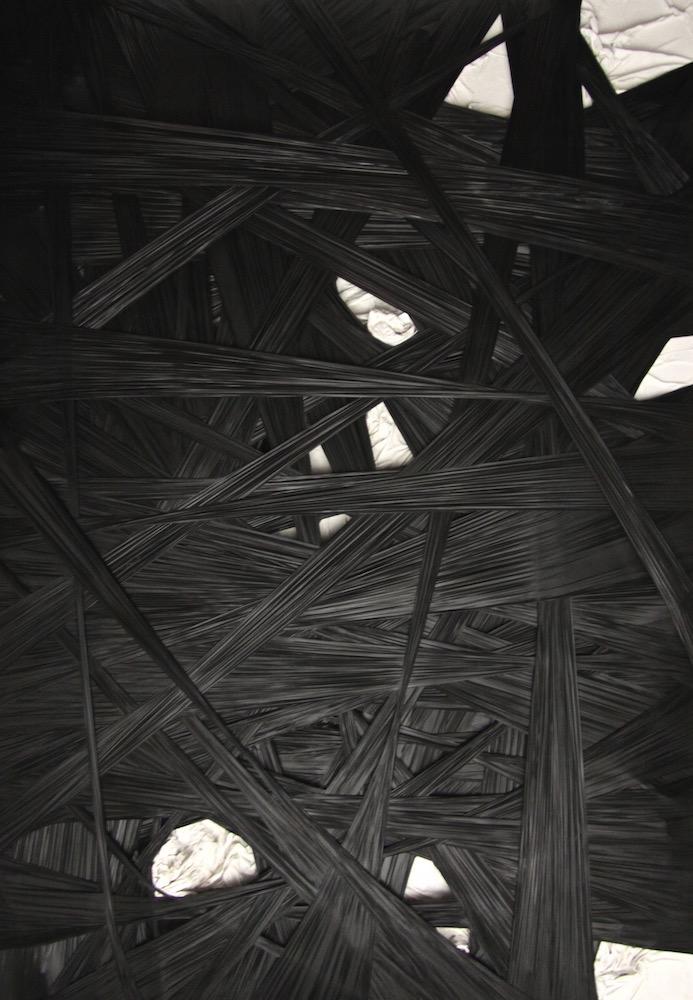 introspezione 2025-Introspezione 2025 Nr. 1-Leinwand und Strechfolie auf Dibond - 220 x 160 x 20 cm - 2012