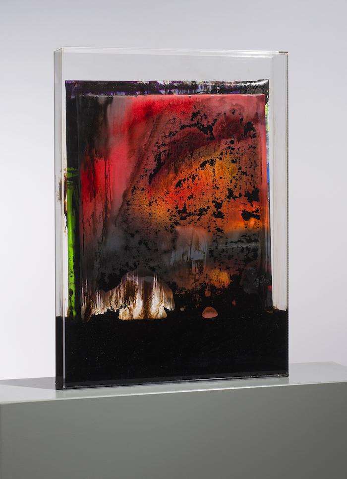 faltung_bitumen-Faltung_Bitumen Nr. 11-Öl auf Leinwand und Bitumen im Plexiglasbox - 85 x 60 x 10 cm - 2017