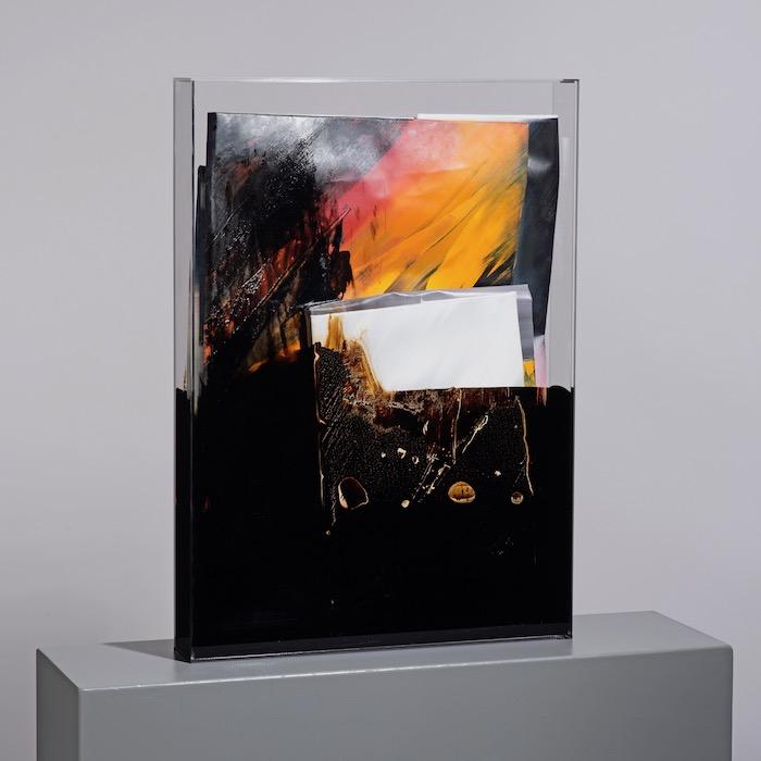 faltung_bitumen-Faltung_Bitumen Nr. 7-Öl auf Leinwand und Bitumen im Plexiglasbox - 85 x 60 x 10 cm - 2017
