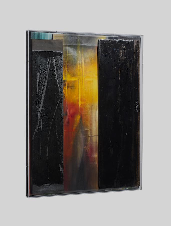 faltung_bitumen-Faltung_Bitumen Nr. 20-Öl auf Leinwand und Bitumen im Plexiglasbox - 109,5 x 83,2 x 6 cm - 2018