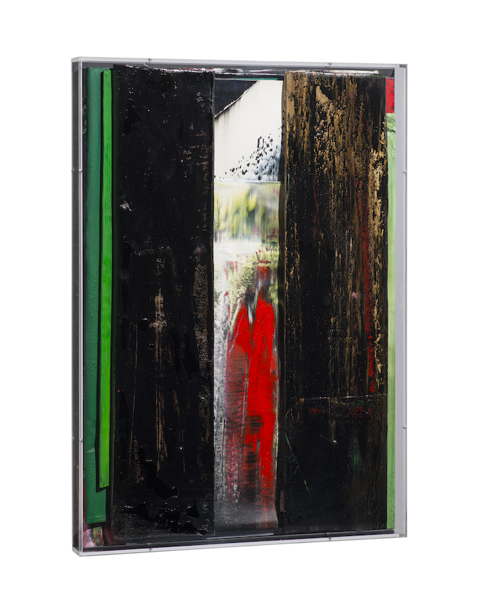 faltung_bitumen-Faltung_Bitumen Nr. 25-Öl auf Leinwand und Bitumen im Plexiglasbox - 66 x 47 x 4,1 cm - 2018