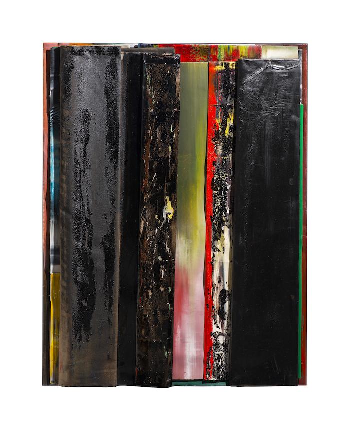 faltung_bitumen-Faltung_Bitumen Nr. 23-Öl auf Leinwand und Bitumen im Plexiglasbox - 127 x 98 x 6 cm - 2018